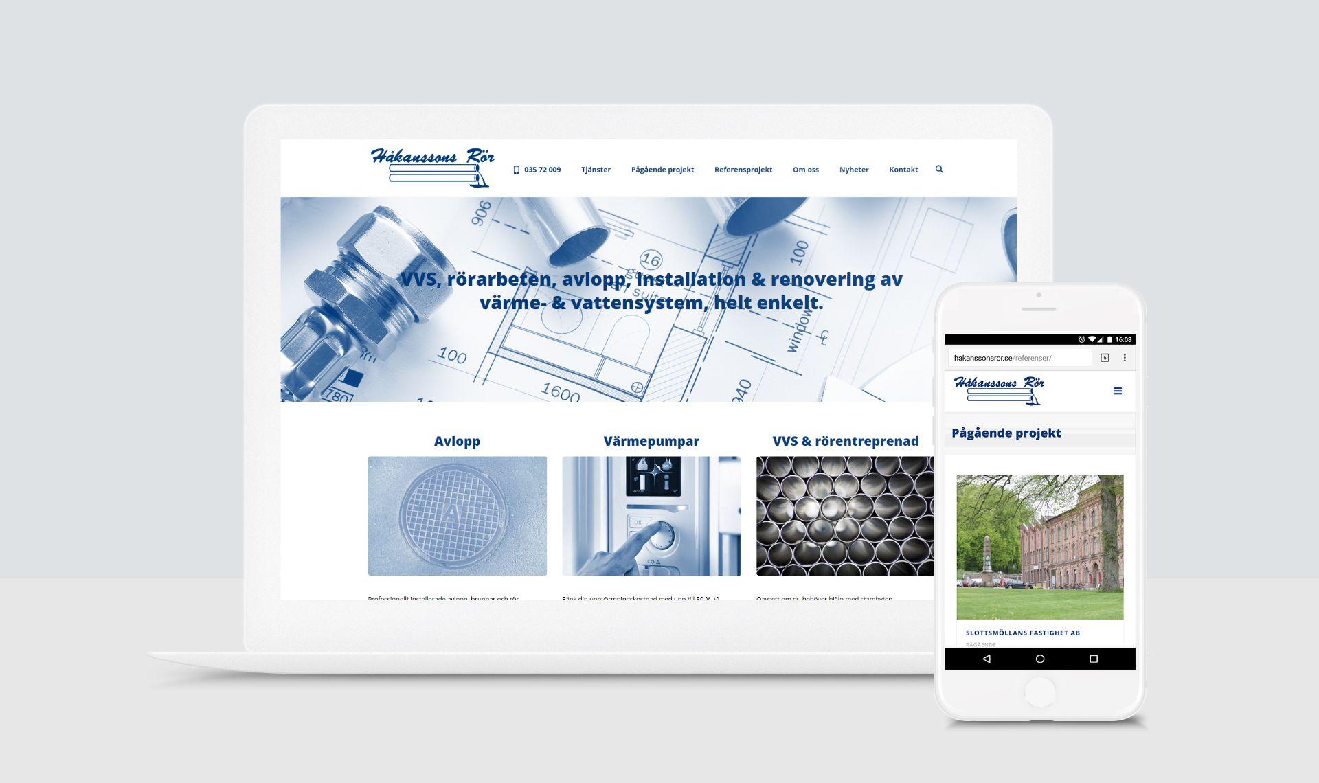 Webbsida för Håkanssons rör